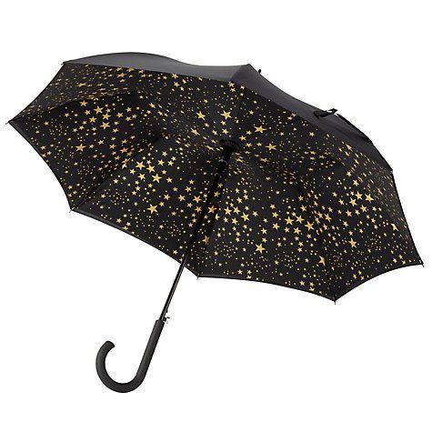 Buy Fulton Bloomsbury Star Print Umbrella, Black/Gold Online at johnlewis.com