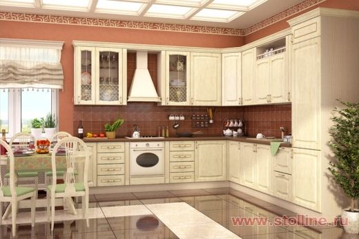 Угловая белая кухня Равенна Дуб Романский в интернет-магазине мебели Столлайн