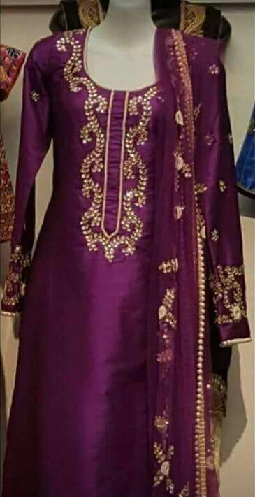 Marvelous Designer Silk Suit With Gotta Patti Work in Wine Color