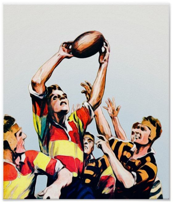 'Lineout' - Rugby watercolor based on a vintage 1931 magazine illustration. Reproduced on Archival Heavyweight Paper. One for the rugby follower's wall http://www.zazzle.com/lineout_rugby_watercolour_print-228254373509688971 #rugby #art #print