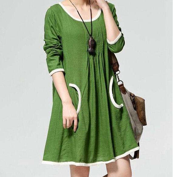 4 color Big yards of cotton/linen long sleeve dress in women's clothing long shirts large size casual loose shirt retro skirts blouses . 479