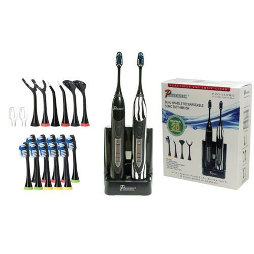 Dual Handle Ultra High Powered Sonic Electric Toothbrush with Dock Charger, 12 Brush Heads & More!-Black and Zebra
