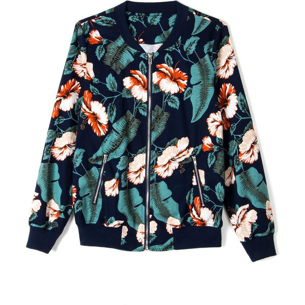 Dark Blue Tropical Floral Print Bomber Jacket ($22) ❤ liked on Polyvore featuring outerwear, jackets, dark blue jacket, flower print jacket, collar jacket, bomber style jacket and floral print bomber jacket