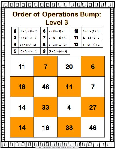 Order of Operations Bump Games contains 12 different levels of bump games to help students practice solving expressions using order of operations. These order o                                                                                                                                                                                 More