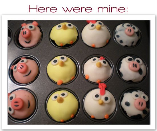 Barnyard cupcakes, could make chicks for easter