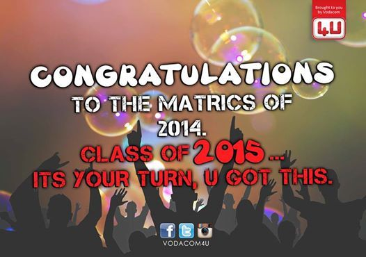 Matrics of 2014… U Have made us proud  #ClassOf2014 Tag all your matriculant friends and lets all celebrate.