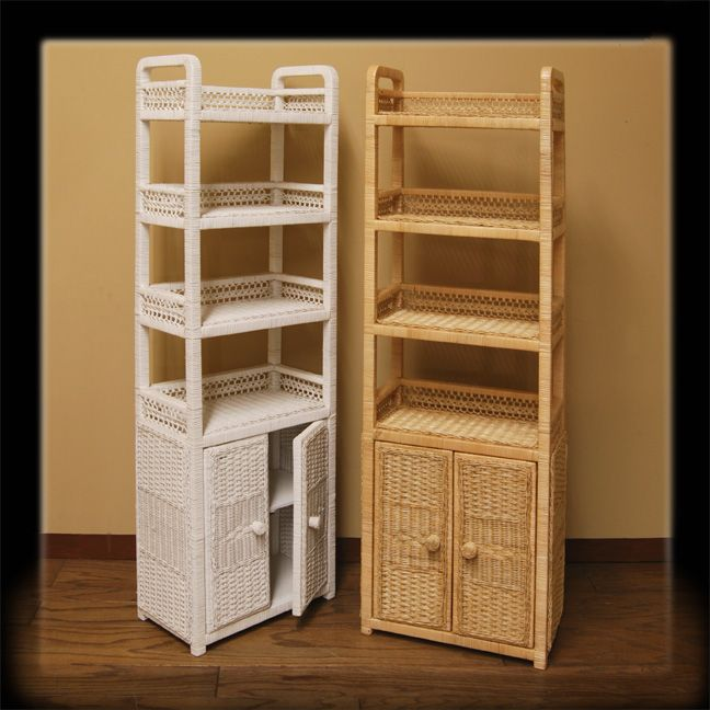 Wicker Bathroom Cabinet With Doors Total Of 6 Shelves Wickerparadise Wicker