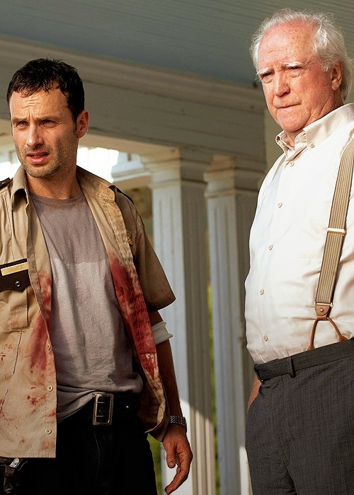 SEASON 2 - RICK AND HERSHEL - AWAITING LORI'S ARRIVAL ON THE FARM AFTER CARL GOT SHOT.