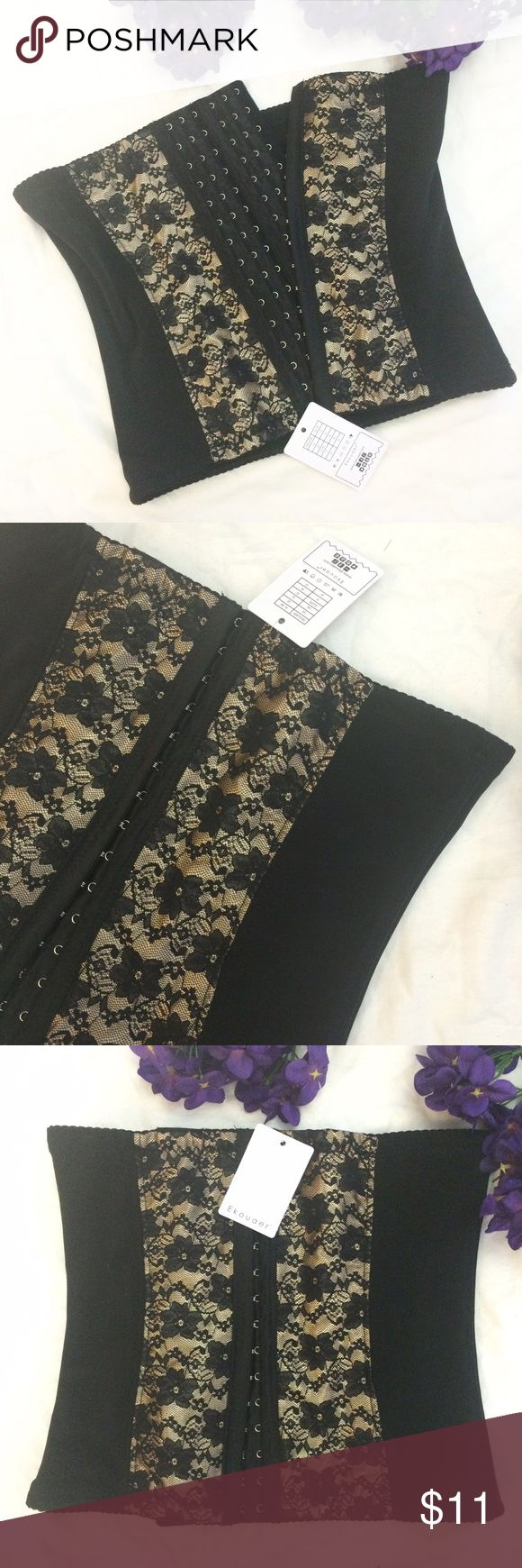 "NWT Ekouaer Lace Waist Trainer Corset This black waist training corset from Ekouaer is NWT and has a gold lacey detail. 5 soft steel bones prevents it from rolling up or down. Firm compression. Sizing: US 10/XL on the tag. Fits a 31""-33"" waistline. 12.5"" wide and 11"" long when laying flat. Bin A. Ekouaer Intimates & Sleepwear Shapewear"