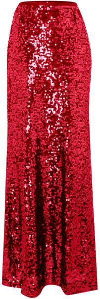 Goddess of Sequin Red Maxi Skirt