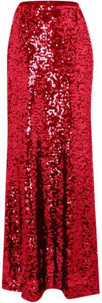 Goddess of Sequin Red Maxi Skirt