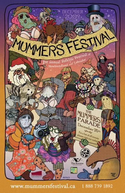 The mummers are a long standing tradition at Christmas where people would dress up to mask their identities and visit homes. It was a way to have people come together 'for a time', celebrate the 12 days of Christmas through song, dance, drink, food and friendship.