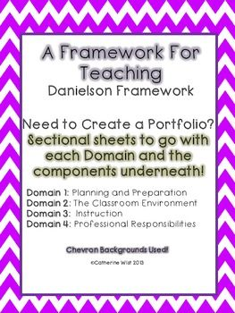 Danielson Framework Binder Sheets- 4 Domains- Chevron Background