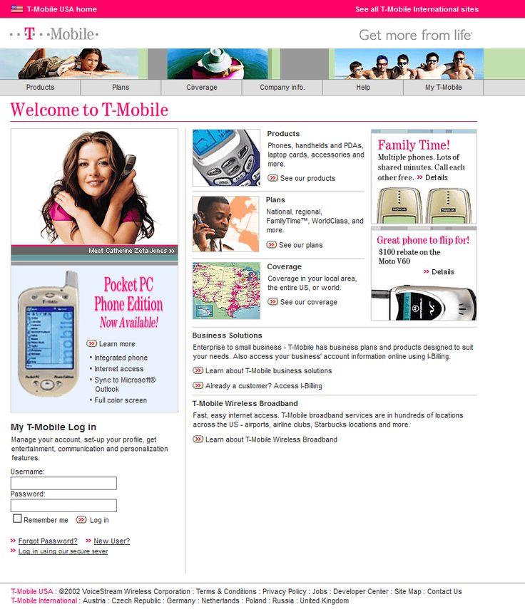 T-Mobile website in 2002