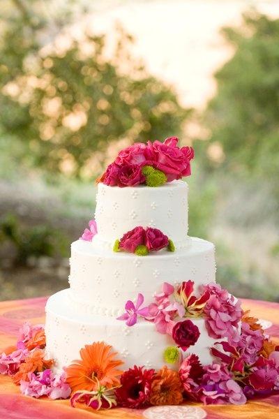 Orange Pink Round Wedding Cakes Photos & Pictures - WeddingWire.com