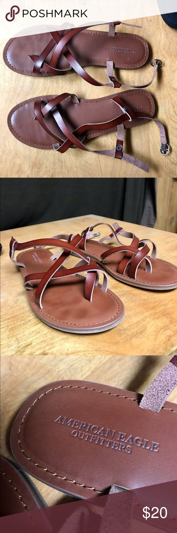 American Eagle Sandals Brown leather sandals by American Eagle. Size 8. Worn for an hour. American Eagle Outfitters Shoes Sandals