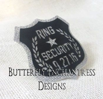 Gray Ring Bearer Gift Security Badge Pin - Rustic Wedding - French Grey Black - Bridal Party - Personalized Custom Wedding Date - BE Lapel