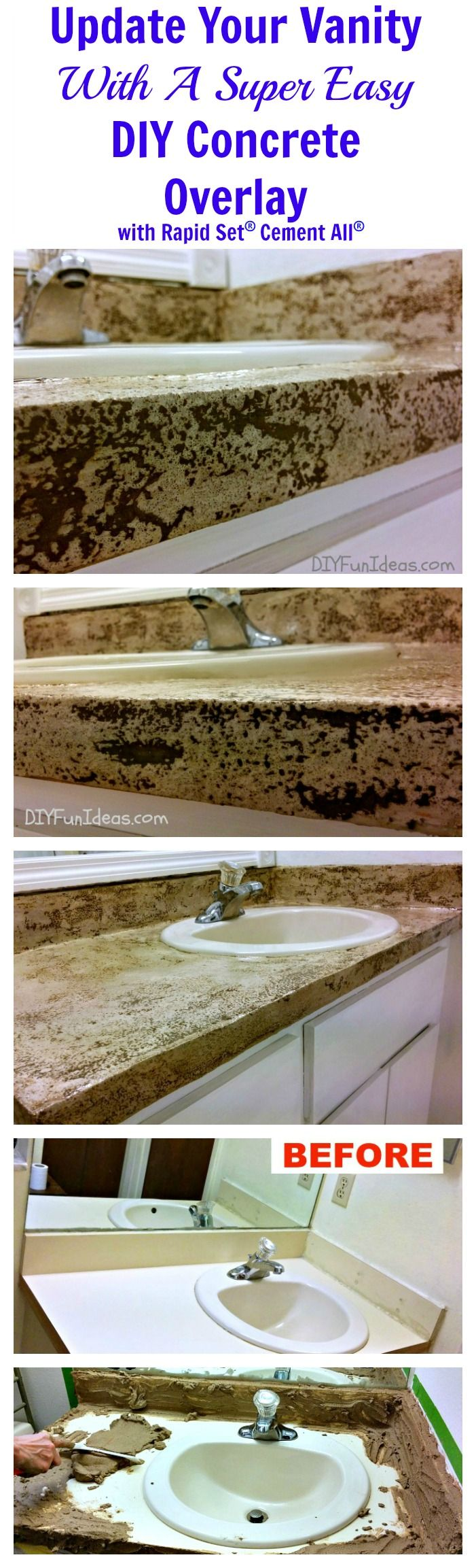 UPDATE YOUR VANITY WITH A SUPER EASY DIY CONCRETE OVERLAY with Rapid Set Cement All .............Most popular pins!
