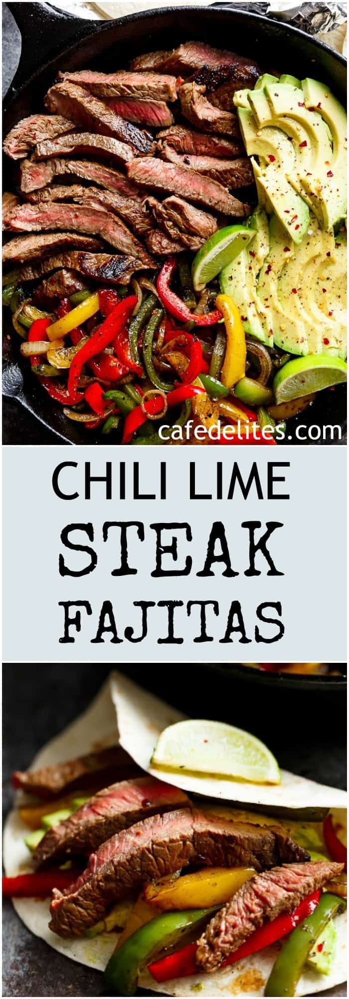 Chili Lime Steak Fajitas are so juicy and full of incredible flavours! The secret lies in this incredibly popular marinade!   https://cafedelites.com
