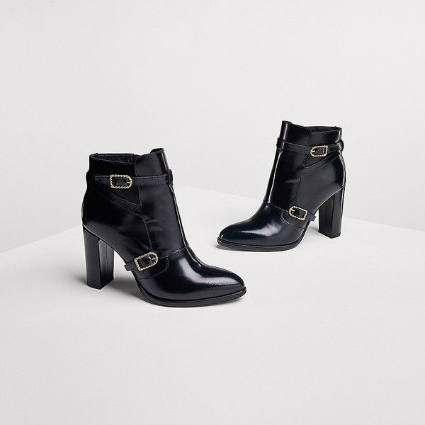 Tommy Hilfiger Leather Nautical Boot Gigi Hadid (2,540 MXN) ❤ liked on Polyvore featuring shoes, boots, ankle booties, bootie boots, buckle ankle boots, leather ankle booties, high heel ankle boots and short boots