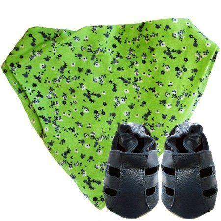 Zapatos de bebe DOTTY FISH de cuero suave con suela de gamuza. Sandalias azul marino con pañuelo y babero verde floral 12-18meses. de Dotty Fish, http://www.amazon.es/dp/B00C2O8G2G/ref=cm_sw_r_pi_dp_5Nyhsb07FFDWS