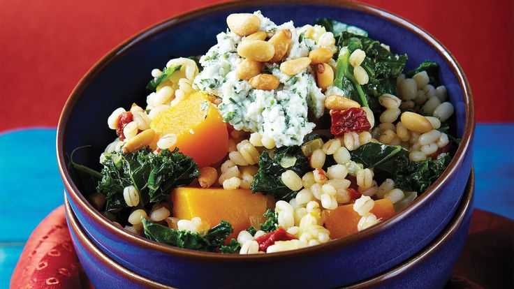 Barley Risotto with Roasted Butternut Squash & Kale. Fiber-rich hulled barley gives our risotto a satisfying chewy texture, and provides the perfect base to show off winter's primed butternut squash and kale!