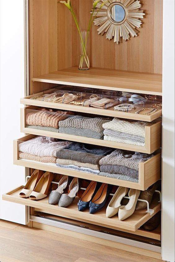 21 Komplement glass front drawers in IKEA Pax system will declutter the space and keep your things in order - DigsDigs