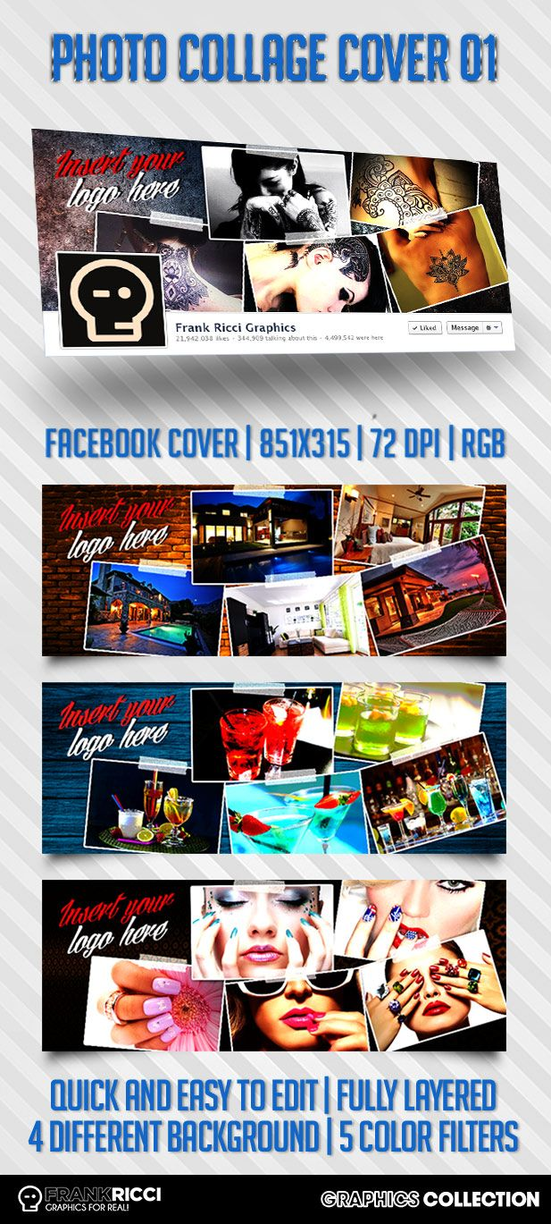 Cover Facebook Photo Collage 01 Template - Available on http://frankricci.it/photo-collage-cover-01/