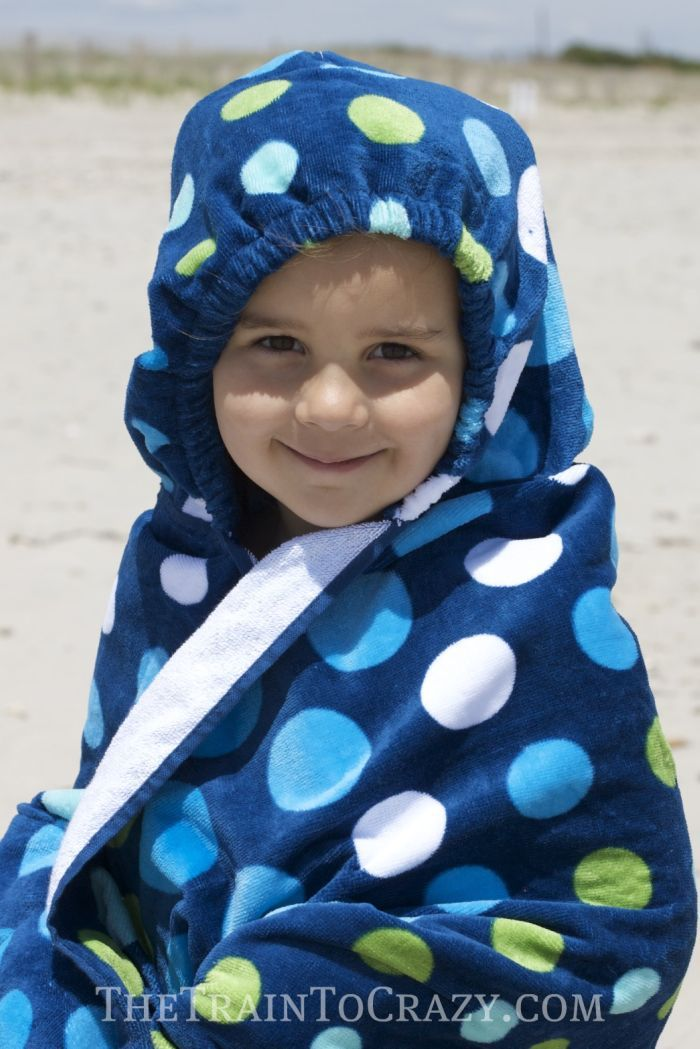 Make an easy hooded towel that turns into a backpack!
