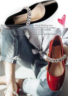 다이아몬드 가죽 플랫슈즈~ 멋쟁이들을 위한 웨딩슈즈!! 여성스러운 디쟌! 레드/누드핑크/블랙color (1.5㎝ 굽높이)