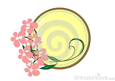 Vector round frame with pink flower and butterfly.