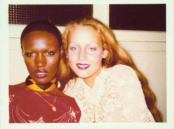 "Grace Jones and Jerry Hall, Paris, 1975. Courtesy of the Estate of Antonio Lopez and Juan Ramos. From Rizzoli's ""Antonio Lopez"""