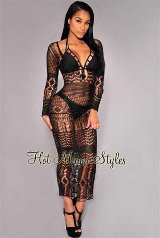 Black Silky Crochet Cover-Up Long Sleeves Maxi Dress.