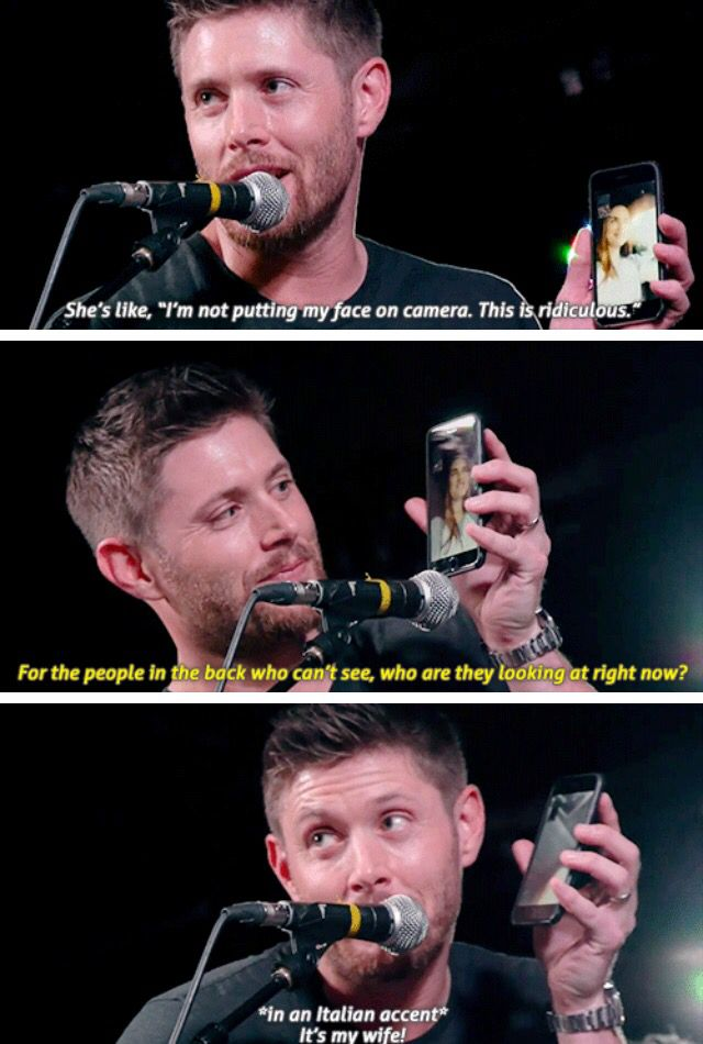 GIFSET - Jensen, Jibcon16, so cute while face timing Danneel :):)Btw you gotta love that Drake and Josh reference.