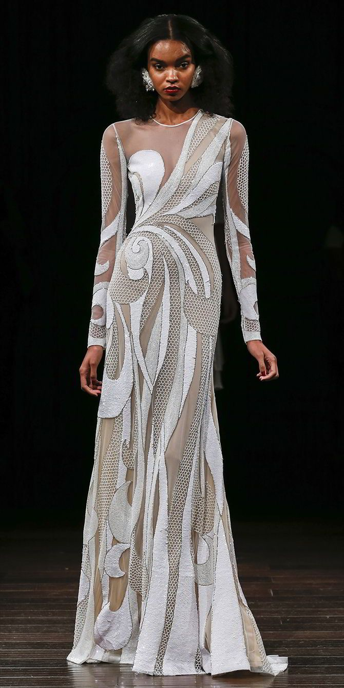 Naeem Khan Fall 2017 Wedding Long sleeve beaded cutout gown