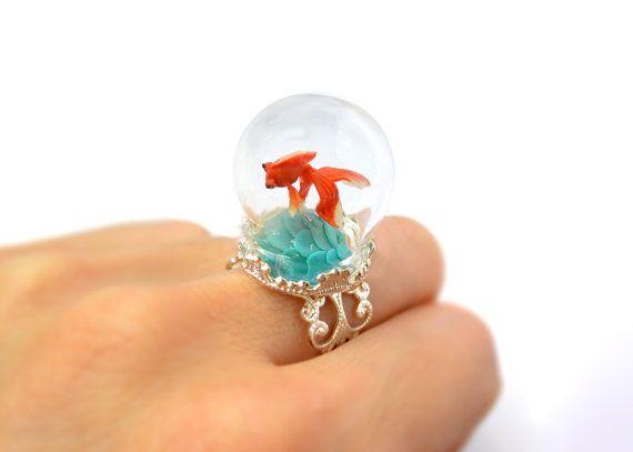 Terrarium ring with tiny goldfish. Miniature under glass globe. Original Christmas gift.