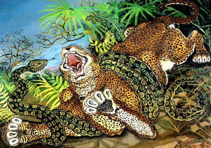 """""""Leopardo assalito da un serpente"""" di Antonio Ligabue"""
