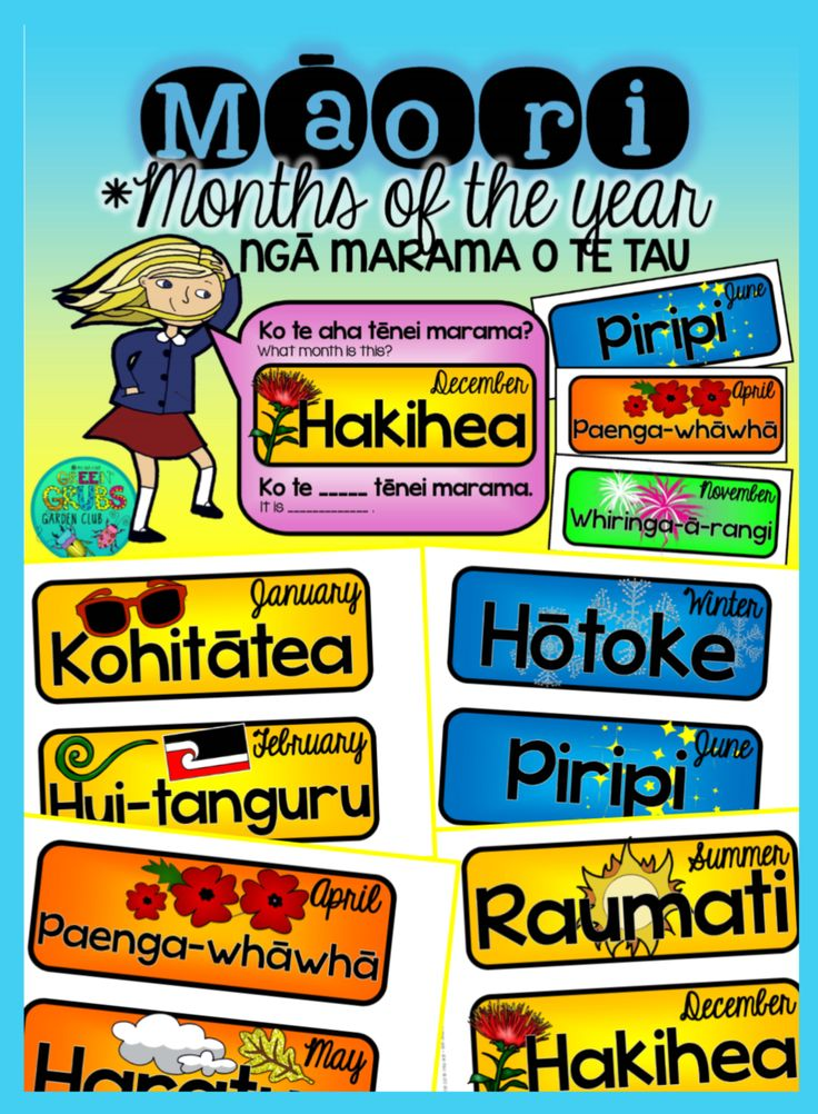 Add some colour to your wall display with these interchangeable Māori months and seasons of the year - simply cut out and laminate before letting your students change the word cards for you! Ngā marama o te tau (months of the year)
