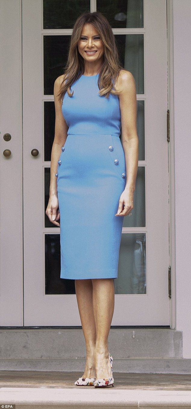 Melania Trump donned a cornflower blue dress and floral heels to greet Panama's president and first lady on Monday http://amzn.to/2sC9uFA