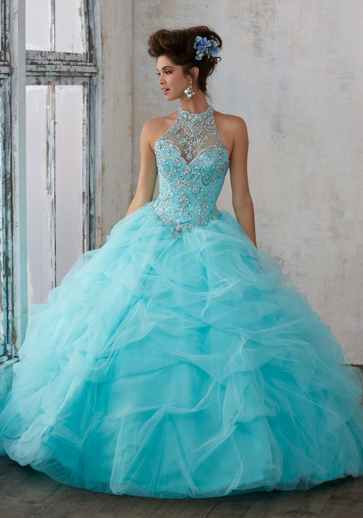 Jeweled Beading on a Ruched Tulle Ballgown | Vizcaya Style 89122 | Quinceanera Dresses by Morilee designed by Madeline Gardner. Tulle Quinceañera Dress Featuring a Gorgeous Jewel Beaded Bodice and High Halter Neckline.
