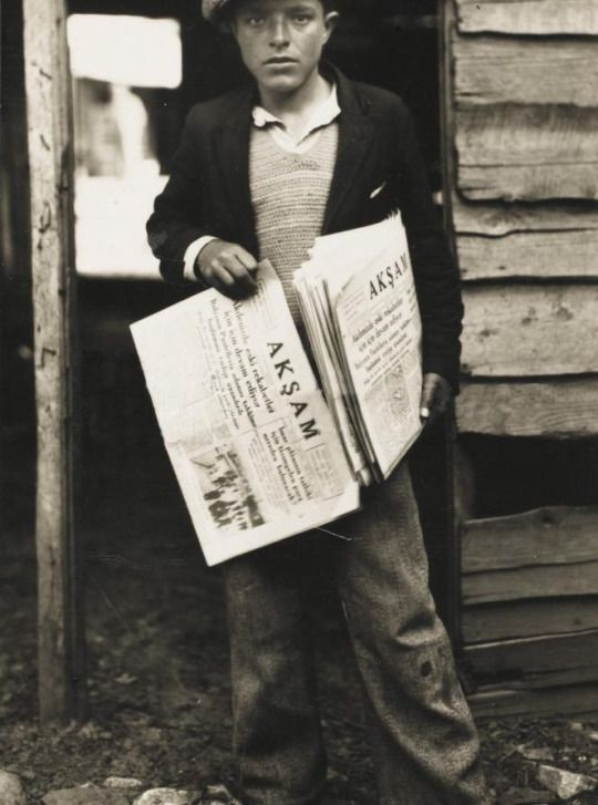 GAZETECÍ (paper boy) selling the evening news  Istanbul, c. 1950.