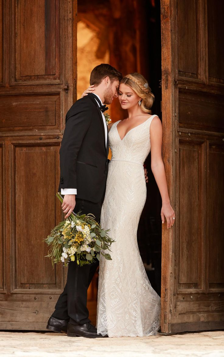Martha Stewart Weddings - With a clean, column silhouette, this modern boho dress from Essense of Australia is simply stunning! The modern, boho lace is designed to flatter your figure, while the graphic beading creates a dazzling effect.