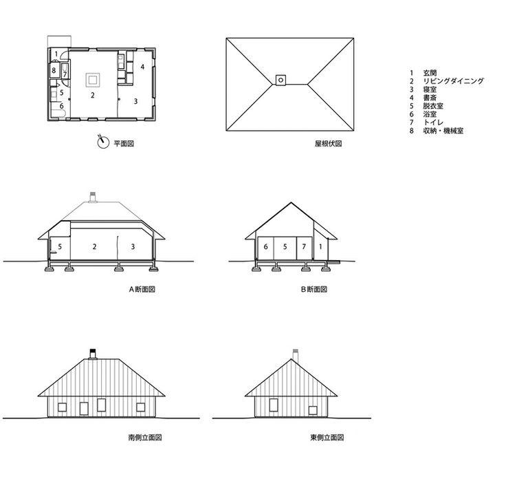 Kengo Kuma and Associates - Memu Meadows - Floor plan, sectional drawing, elevation plan