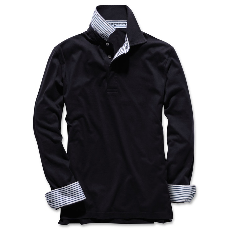 Navy Long Sleeve Pima Polo Shirt £40