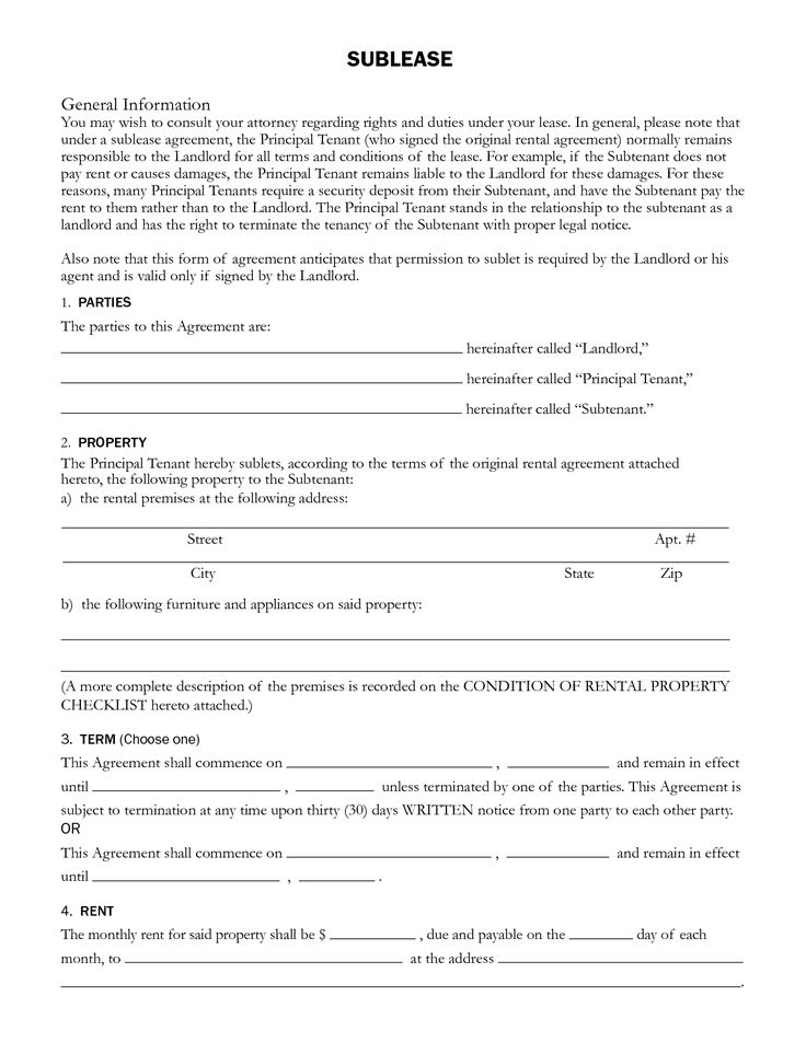 Sublet Rental Agreement SUBLEASE General Information by ayj58676 - auto purchase agreement