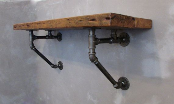 Wall Mounted Pub Table Breakfast Bar Top made from Rustic Authentic Reclaimed Barn Wood and Industrial Pipe , Kitchen Side Bar Counter