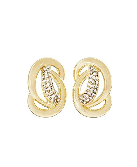 Pave Knot Post Earrings