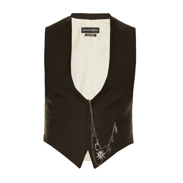 Alexander McQueen Pocket chain-embellished waistcoat ($1,244) ❤ liked on Polyvore featuring men's fashion and black