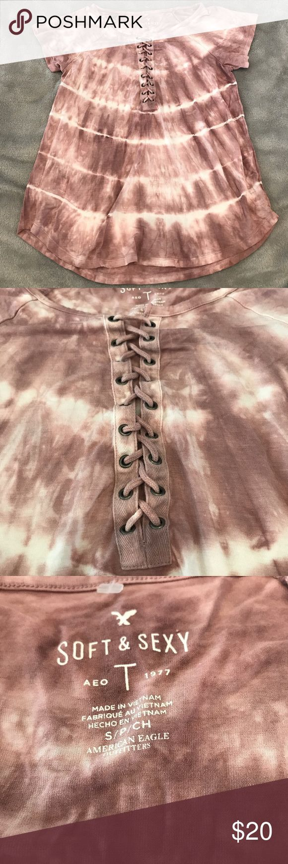 American eagle shirt The dye, blush pink! Super cute string neck. Brand new without tags! ❤️ please see pictures with materials list 💜 American Eagle Outfitters Tops
