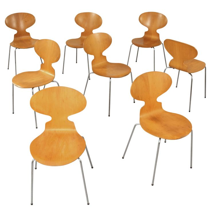 Set of 8 matching arne jacobsen 3101 39 ant 39 chairs for Chaise arne jacobsen